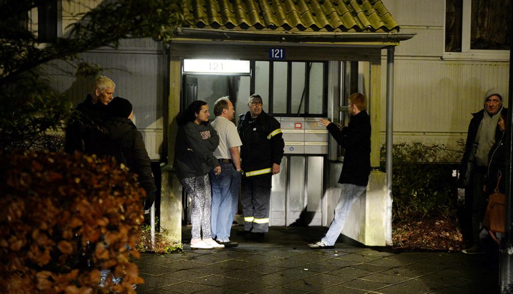 Alle beboerne i opgangen blev evakueret. Foto: Jens Nielsen