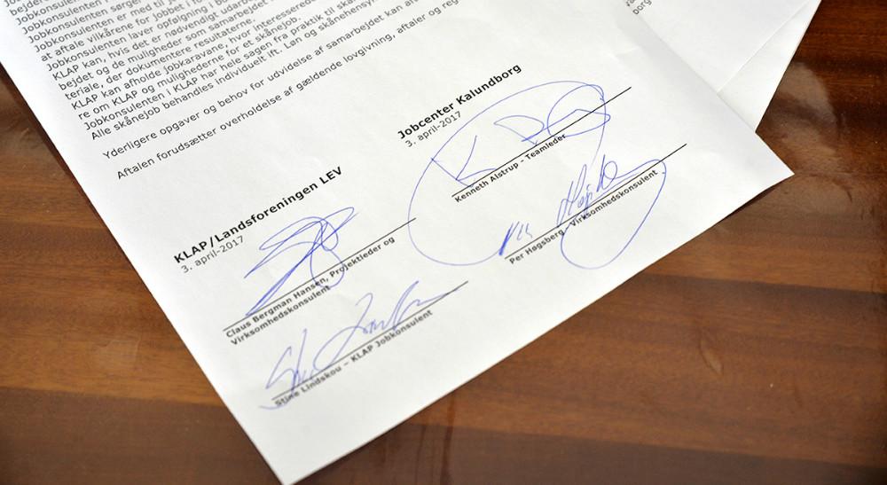 Den 5-årige aftalemellem Kalundborg Jobcenter og KLAP er underskrevet. Foto: Jens Nielsen