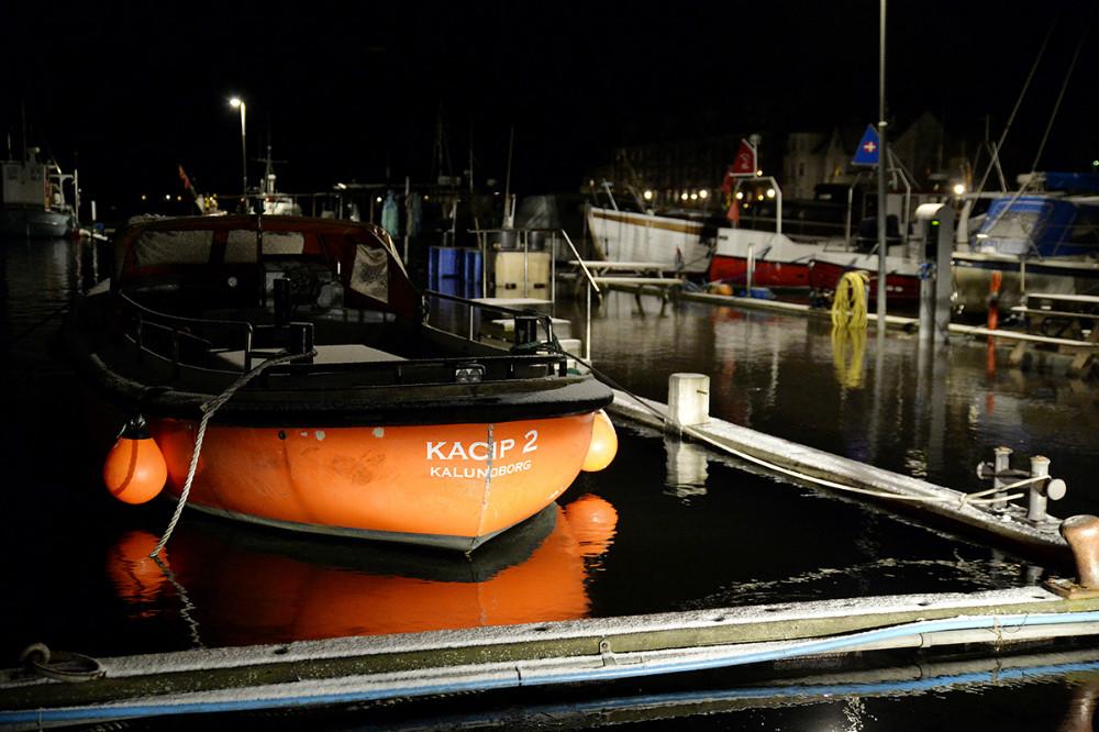 Der var rigtigt meget vand i fiskerihavnen i Kalundborg natten til torsdag. Foto: Jens Nielsen