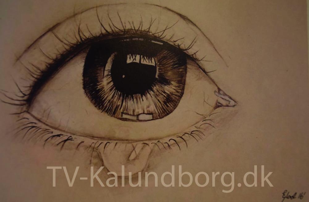 15-årig Emilie Glad udstiller pt. med sine tegninger på Kalundborg Bibliotek.
