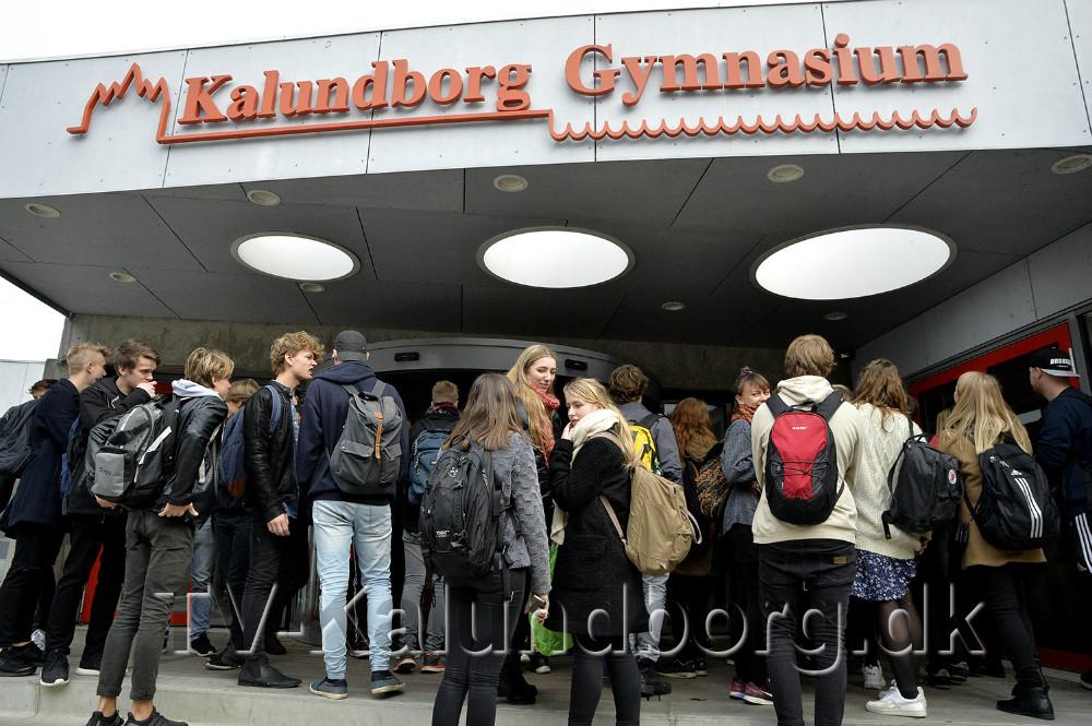 En del elever på Kalundborg Gymnasium deltog i strejken. Foto: Jens Nielsen