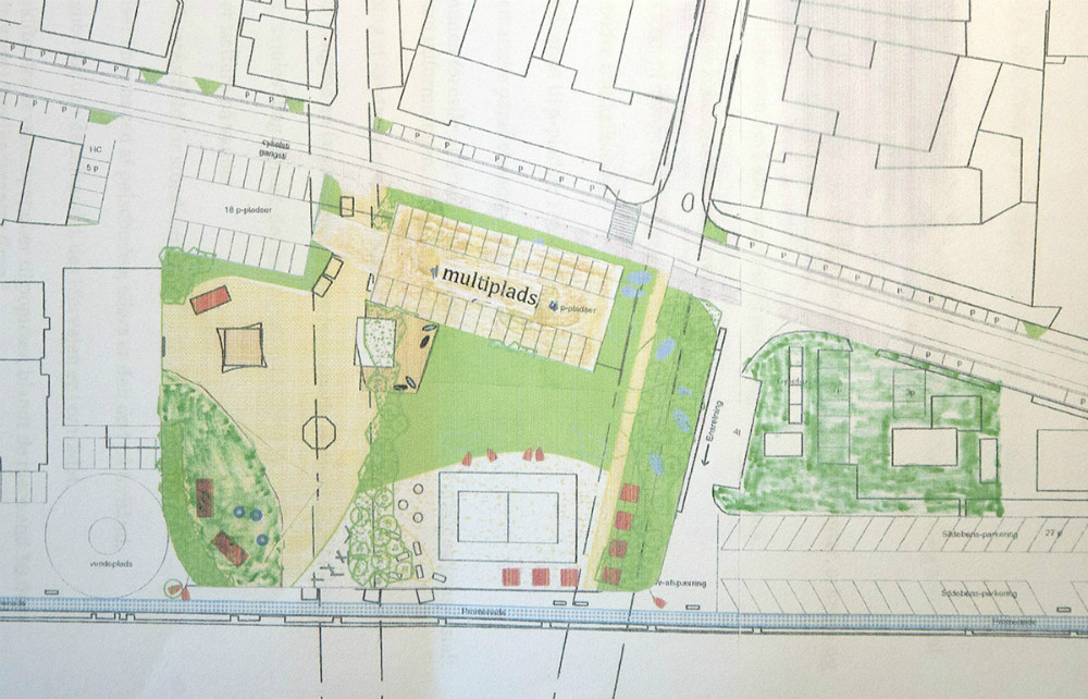 Her tegning af den multiplads som ejerne af Grand foreslår.