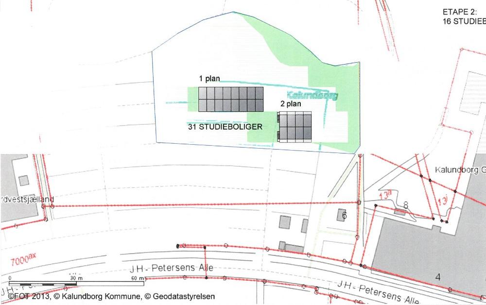 Kort over byggeprojekt vedr. studieboliger i Munkesøparken i Kalundborg.