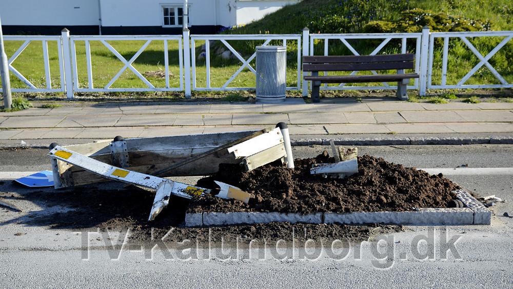 Hærværk modtrafikchikane på Vestre Havnevej i Kalundborg. Foto: Jens Nielsen
