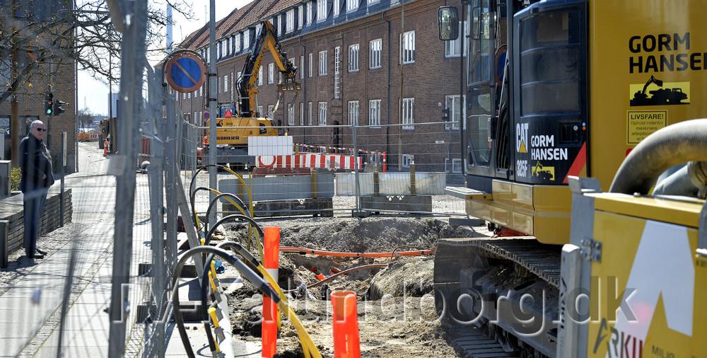 Arbejdet i Bredgade-Vænget skrider frem efter tidsplanen. Foto: Jens Nielsen