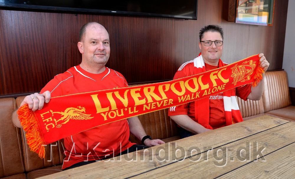 Liverpool fansene Thomas Holst Tranberg og Lars Kaster. Foto: Jens Nielsen