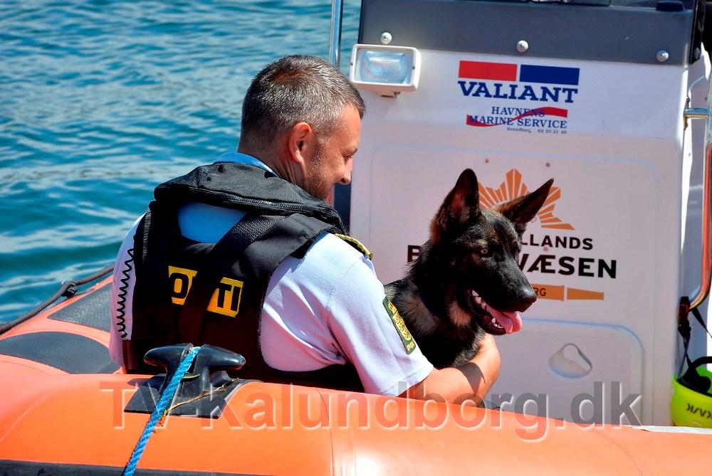 Den kun seks måneder gamle politihund Arne fik en tur i redningsbåden. Foto: Jens Nielsen