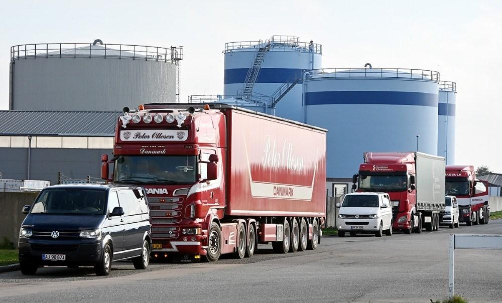 Politiet kontrollerede lastbiler på Juelsmindevej i Kalundborg. Foto: Jens Nielsen