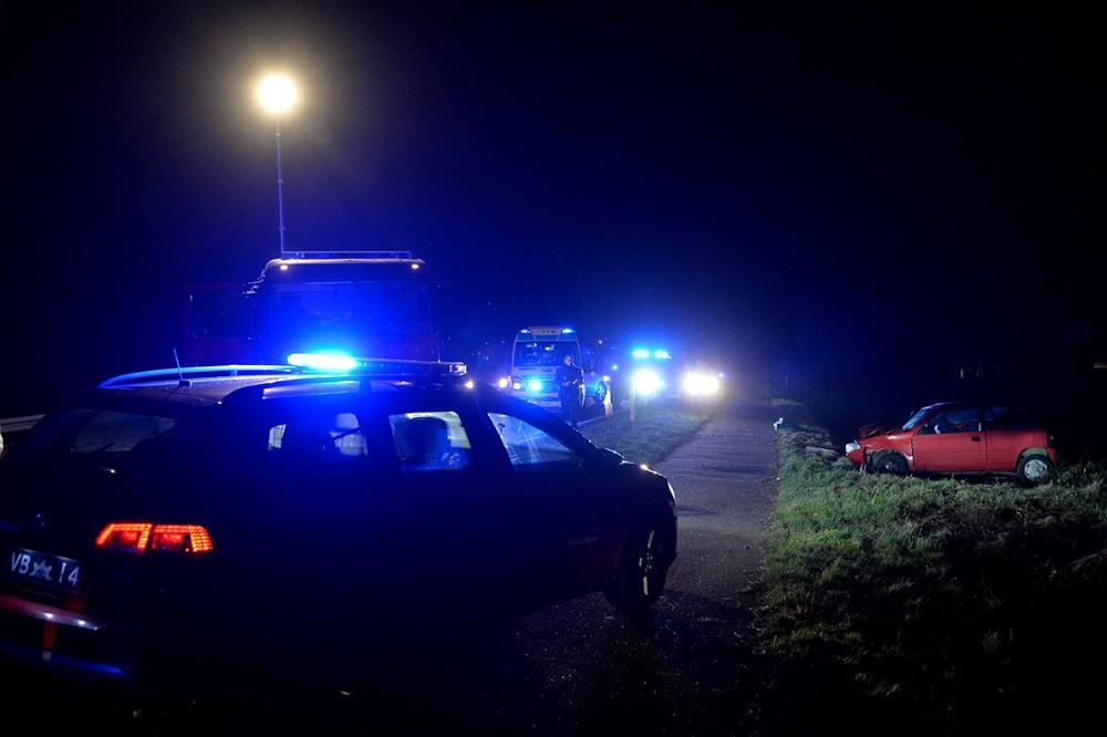 Slagelse Landevej var spærret mens redningsarbejdet stod på. Foto: Jens Nielsen