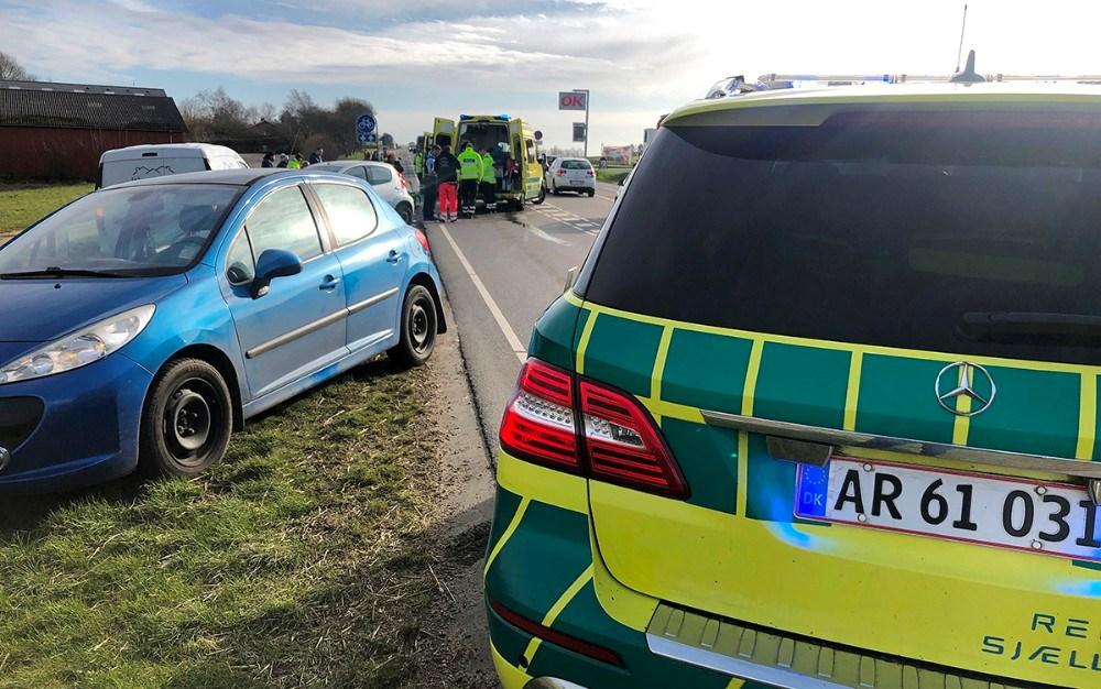 Færdselsuheld på Bjerge Landevej mandag eftermiddag. Foto: Jens Nielsen