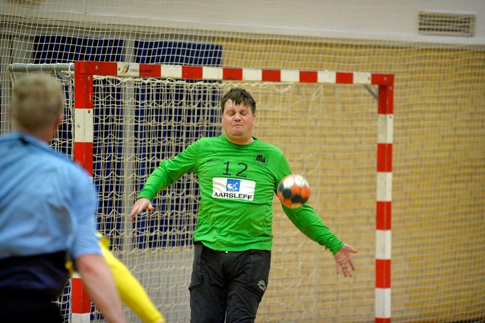 Andreas Bundgaard spillede en flot kamp med mange redninger i Kalundborg målet. Foto: Jens Nielsen