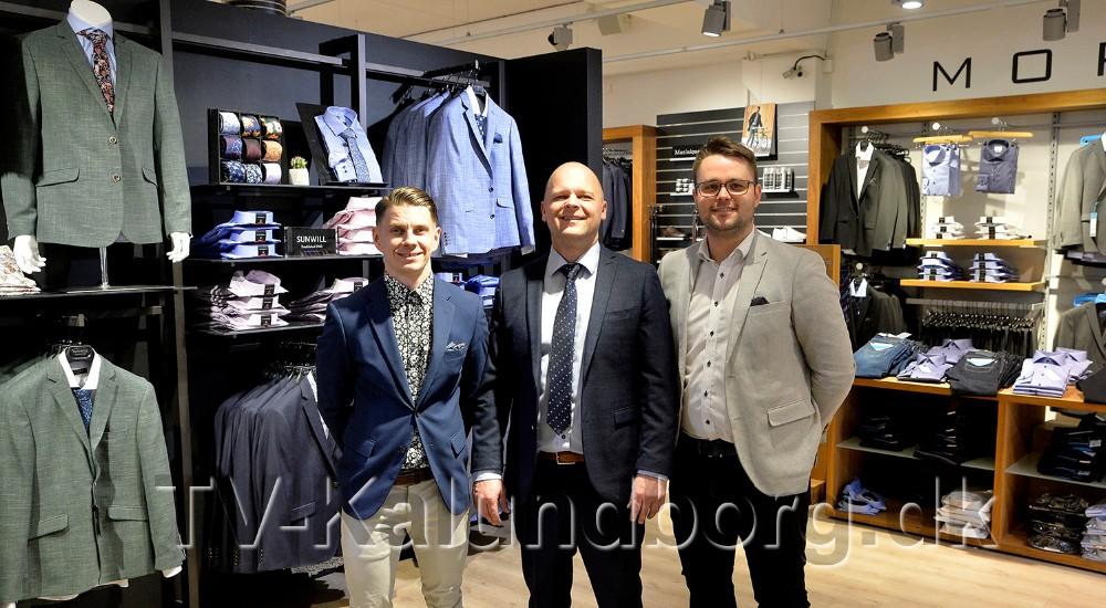Tonni Carlson, Lars Czuba og Philips Jensen fra Tøjeksperten i Kalundborg, klar til at rådgive om moden på festtøj. Foto: Jens Nielsen