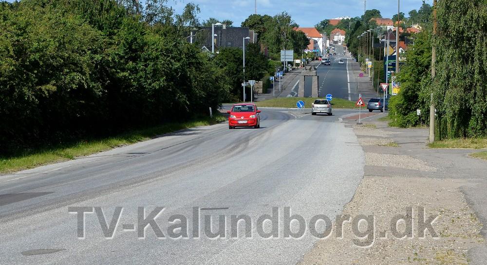 Trafikken ensrettes ind i byen frem til rundkørslen ved Meny. Foto: Jens Nielsen