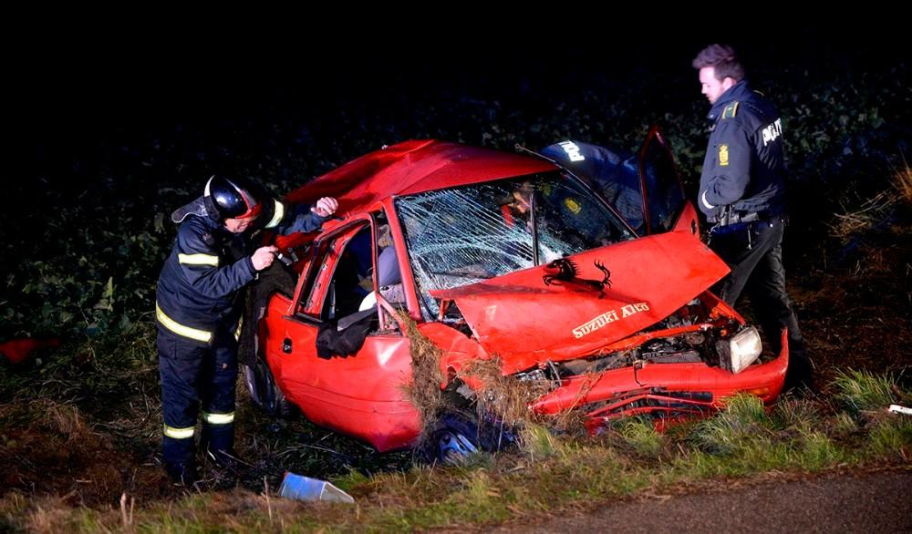 En 45-årig mand kørte fredag aften af vejen på Slagelse Landevej. Foto: Jens Nieslen