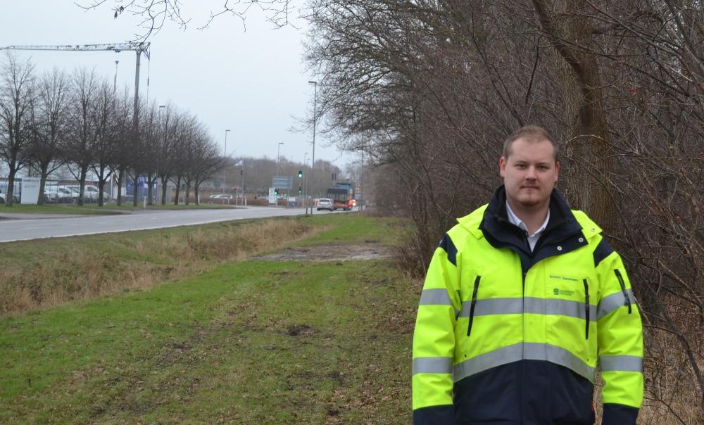 Ifølge Simon Wellmann, projektleder hos Kalundborg Forsyning vil de nye træer give en flot vejstrækning. Foto: Kalundborg Forsyning