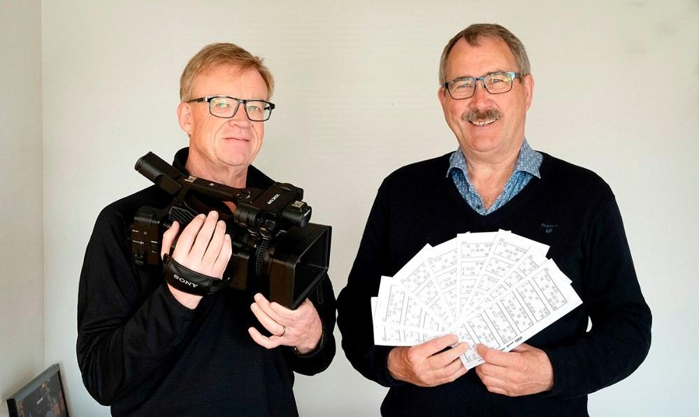 Jens Nielsen fra TV-Kalundborg og Niels-Erik Sørensen, formand for H. F. Vestsjællands Venner, er klar med online bankospil på onsdag.