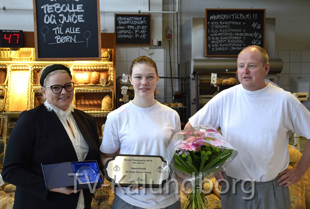 Michéle Hansen, der er 1.års elev hos bageren i Kvickly Kalundborg har netop vundet sølvmedalje. Foto: Gitte Korsgaard.