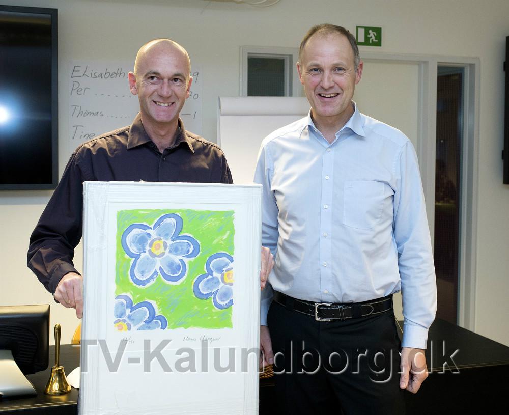 Foreningens formand Jacob Winther Jensen modtog handicapprisen, her sammen med borgmester Martin Damm. Foto Jens Nielsen
