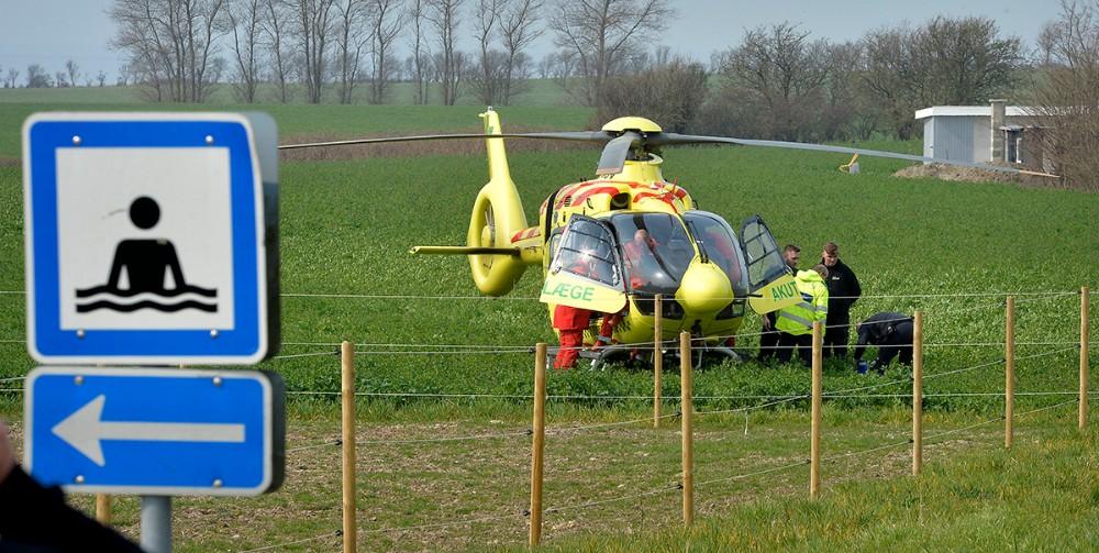 En 73-årig kvinde er fløjet til Rigshospitalets Traumecenter. Foto: Jens Nielsen