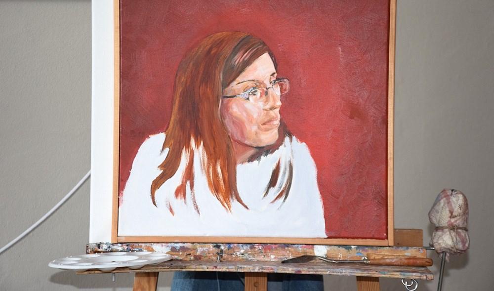 En skitse, som Kjeld Nielsen har lavet, inden selve maleriet bliver malet. Foto: Gitte Korsgaard.