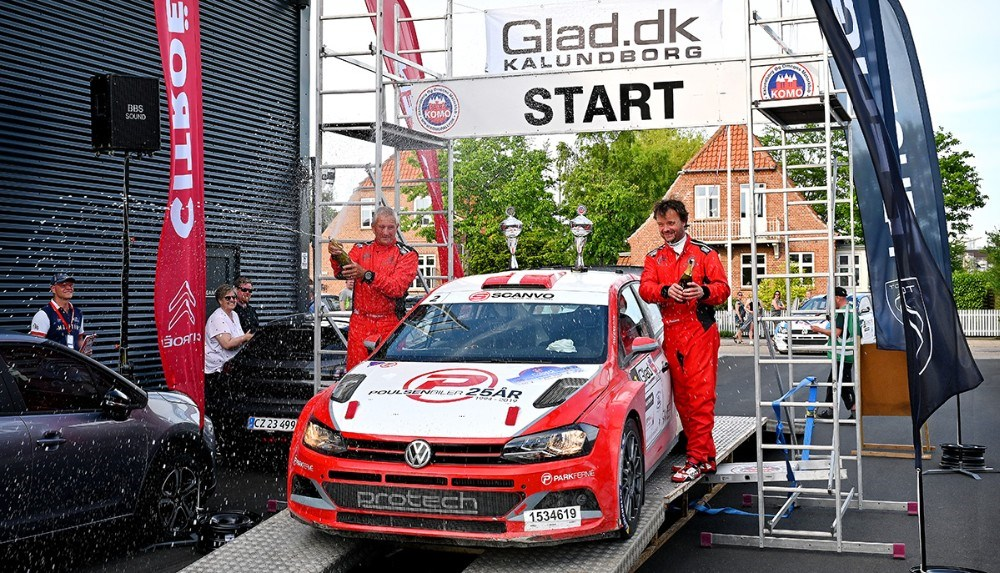 Kristian Poulsen-Ole R. Frederiksen fra Risskov i VW Polo GTI R5 blev samlet vinder af Glad Rally Kalundborg. Foto: Jens Nielsen