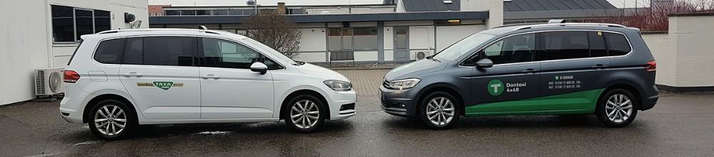 De første taxier er allerede monteret med det nye logo, og allerede fra uge syv er Kalundborg Taxa blevet til Dantaxi 4x48. Privatfoto
