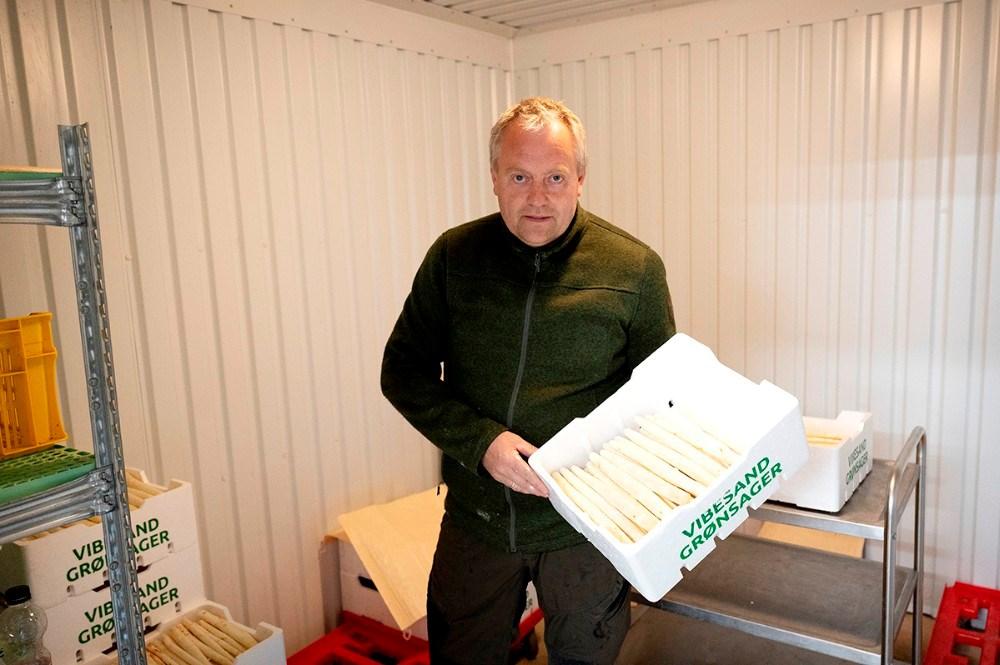 Der er hvide asparges til salg hos Vibesand Grønsager. Foto: Jens Nielsen