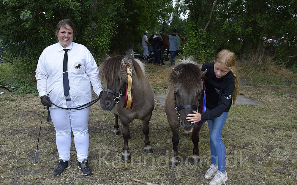Annagaard Uranus og Annagaard Umanak, der vandt 1. og 2. præmien i Vallak Shetlændere står her sammen med ejer, Cecilie Pedersen og hendes kusine. Foto: Gitte Korsgaard.