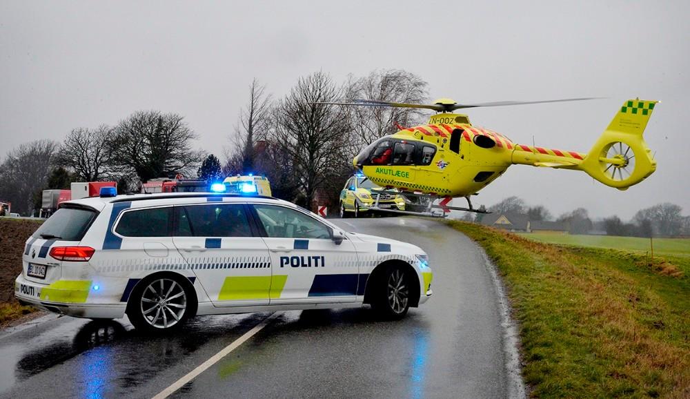 Den 36-årige blev fløjetmed helikopter til Rigshospitalet. Foto: Jens Nielsen