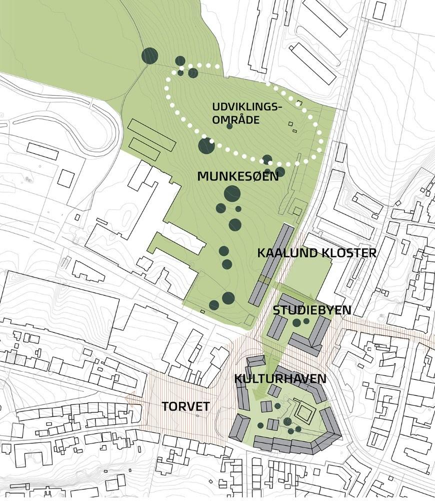 Her kort over hvordan arkitektfirmaet forestiller sig bymidten i Kalundborg