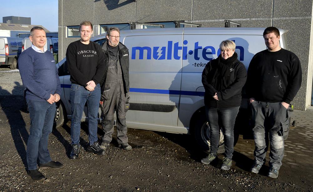 Fra venstre, Niels Jørgensen, Nicolai Lind Christensen, John Halkjær, Louise Ettrup Ejlersen og Magnus Mandrup Lond. Foto: Jens Nielsen