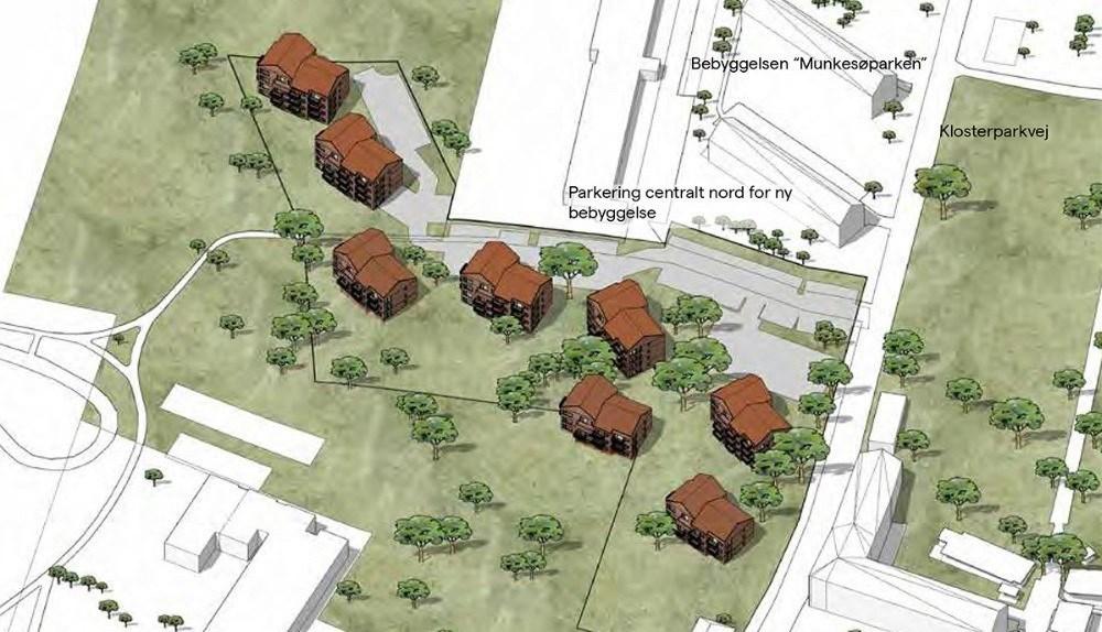 AP Pension ønsker at opføre otte punkthuse i den øverste del af Klosterparken.