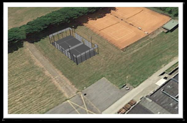 Padelbanen opføres ved de eksisterende tennisbaner ved Hvidebækhallen.