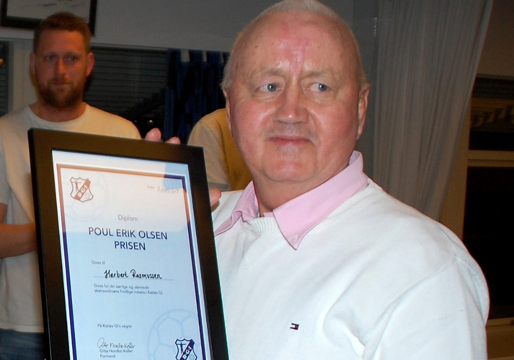Herbert Rasmussen fik overrakt ´Poul Erik Olsen´ prisen. Foto: Kurt Grinderslev