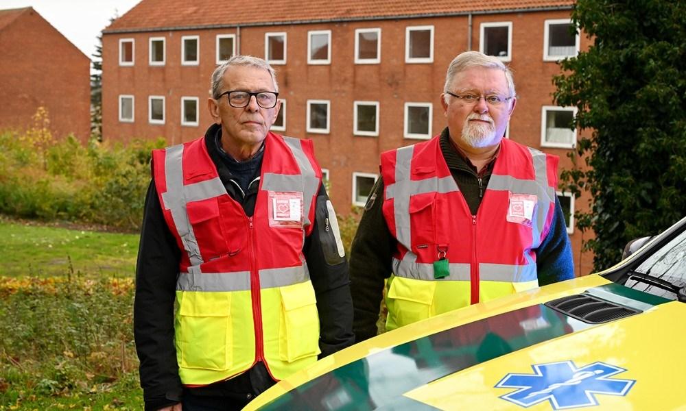 Ole Nielsen og Bjarne Jensen er to af førstehjælperne i Kalundborg under Danmark Redder Liv. Foto: Jens Nielsen
