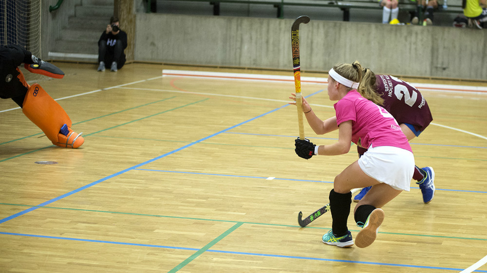 Kalundborg/Slagelse holdet i lørdagens kamp mod Gentofte, lørdag formiddag (Kalundborg/Slagelse i pink). Foto: Jens Nielsen