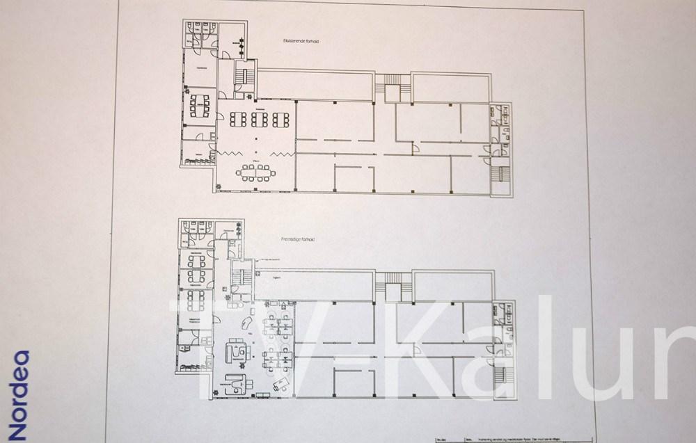 Tegning over, hvordan den nye afdeling af Nordea i Kalundborg kommer til at se ud.