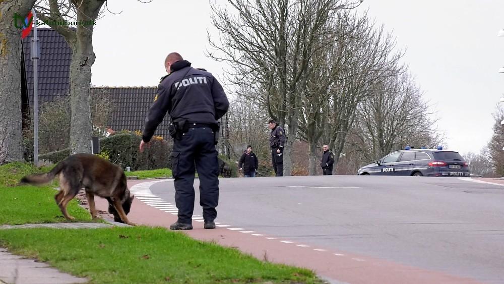 Politiets hunde fandt tomme patronhylstre på Bredekildevej. Foto: Jens Nielsen