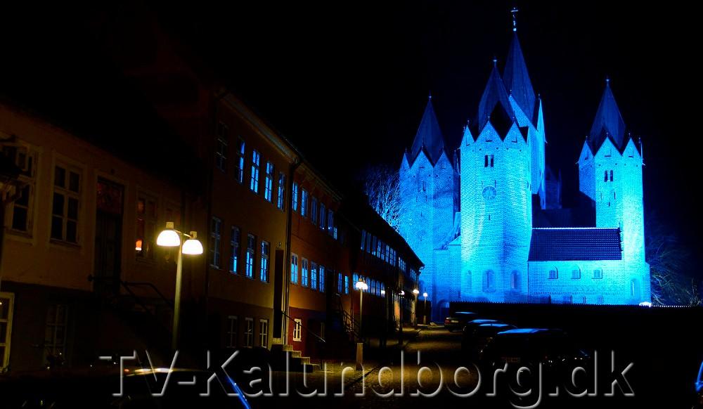 Vor Frue Kirke plejer at være oplyst i blåt til World Diabetes Day. Foto: Jens Nielsen