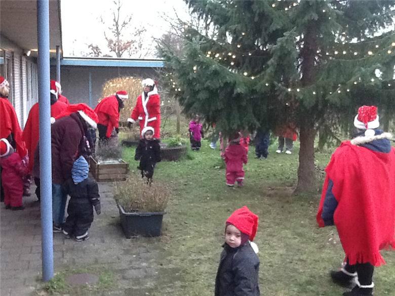 I går har alle nisserne i vuggestuen Toppen danset og sunget om juletræet