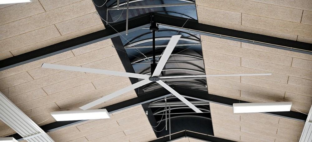 I Rynkevanghallen er der monteret to af de store ventilatorer. Her er der tale om den ´gamle´ model uden UVC-lys. Foto: Jens Nielsen
