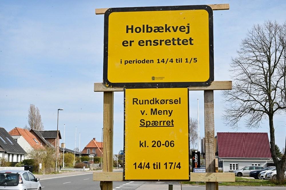 Holbækvej ensrettes igen fra i morgen tirsdag. Foto: Jens Nielsen