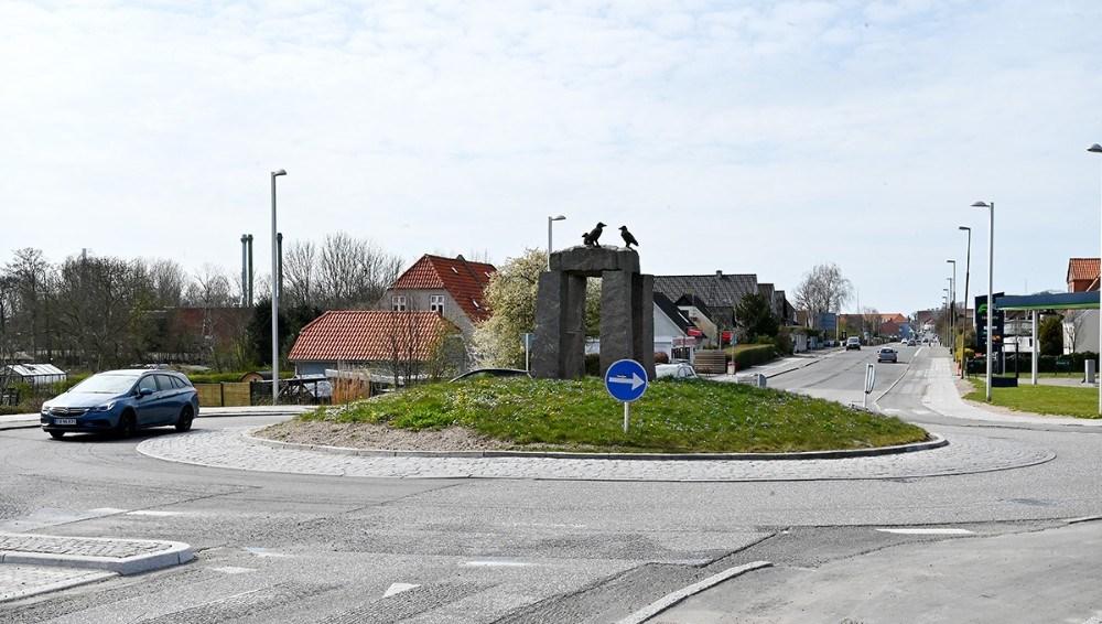 Rundkørslen ved Meny spærres helt af fra d. 14-17. april i tidsrummet mellem kl. 20-06. Foto: Jens Nielsen