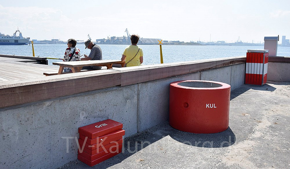 Der er lagt fliseri havneparken, som man skal benytte, nårman har sin engangsgrillmed. Foto: Gitte Korsgaard.