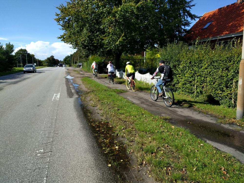 Flere SF´ere kørte fra Tømmerup Skole til Kalundborg midtby i går for at tjekke forholdene på cykelstierne. Privatfoto.