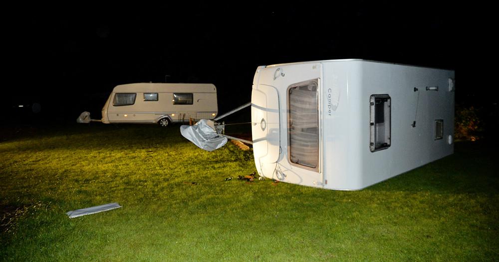 Bjerge Sydstrand Camping blev hårdt ramt af skypumpen onsdag aften. Foto: Jens Nielsen