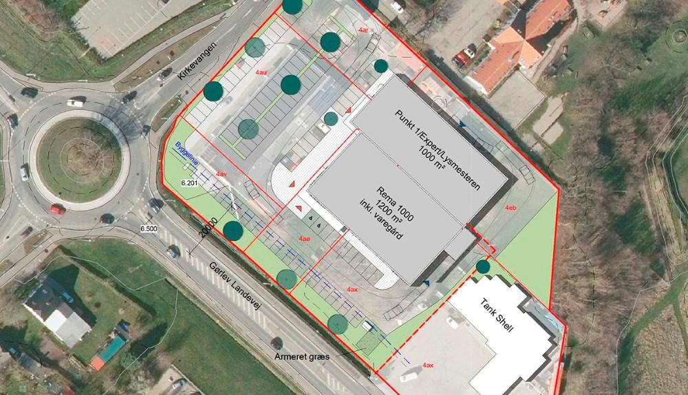 De første planer for byggeriet ved rundkørslen i Gørlev. Nu byttes bygningerne rundt så Punkt 1, Lysmesteren og Expert får facade mod Gørlev Landevej.