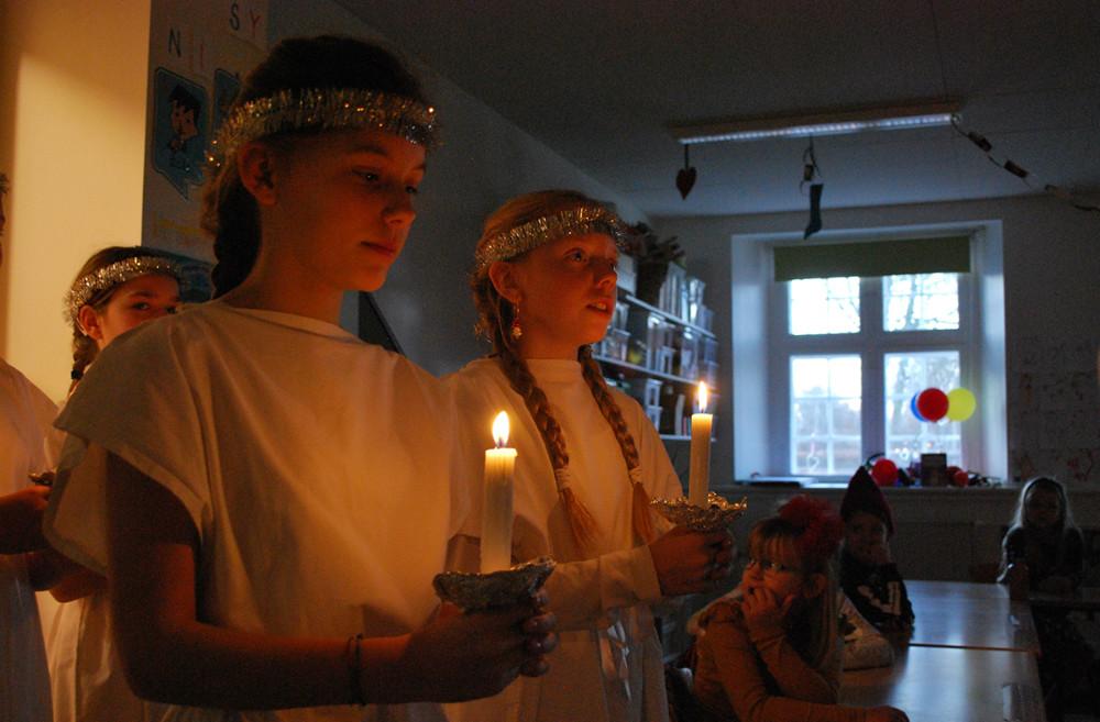 Lucia på Kalundborg Friskole. Foto: Rene Tholander.