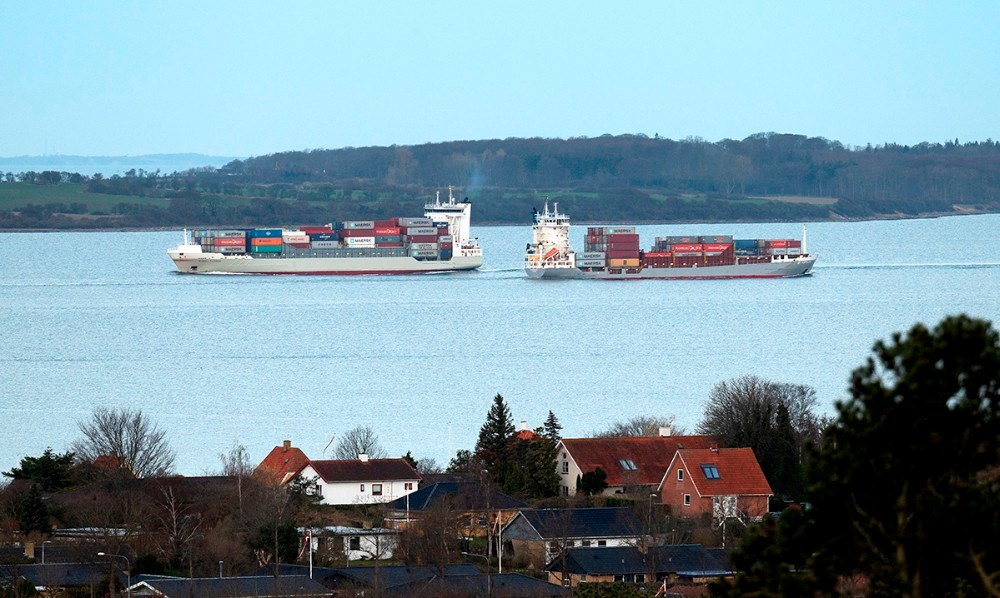 Containerskibet BF Fortaleza for udadgående i Kalundborg Fjord mens Bianca Rambow er for indadgående. Foto: Jens Nielsen