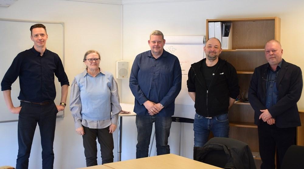 Direktør Kalundborgegnens Erhvervsråd, Jens Lerager (tv), Marinne Enø, Glenn Swärd og Brian Sønder Andersen, formænd Vores Kalundborg. Foto: Gitte Korsgaard.